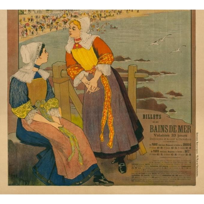 Affiche ancienne de voyage - G.Fraipont - Circa 1900 - Armorique Plage Le Croisic-Batz - 110 par 79 cm - 3