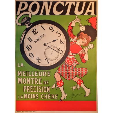 Original french poster of the watches brand Ponctua. Elbé Paris.