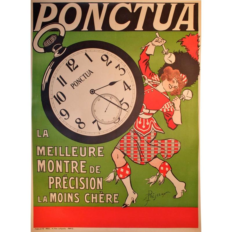 Affiche des montres Ponctua, montres de précision. Elbé Paris.