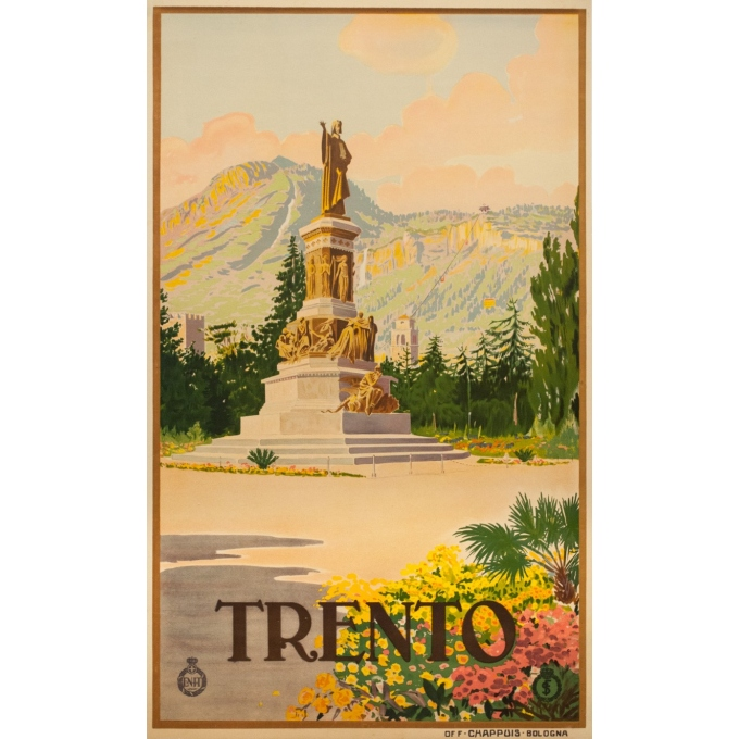 Vintage travel poster - Anonyme  - Circa 1925 - Trento Italie - 40.4 by 24.4 inches