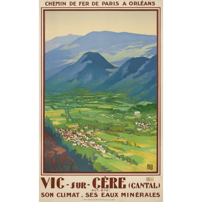 Vintage travel poster - Hallo - Circa 1925 - Vic sur Cère Cantal - 39 by 24.2 inches