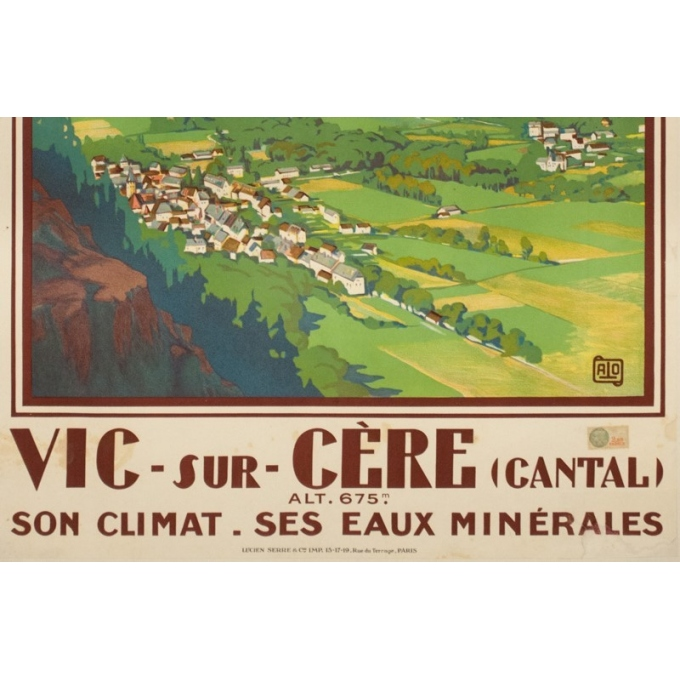 Vintage travel poster - Hallo - Circa 1925 - Vic sur Cère Cantal - 39 by 24.2 inches - 3