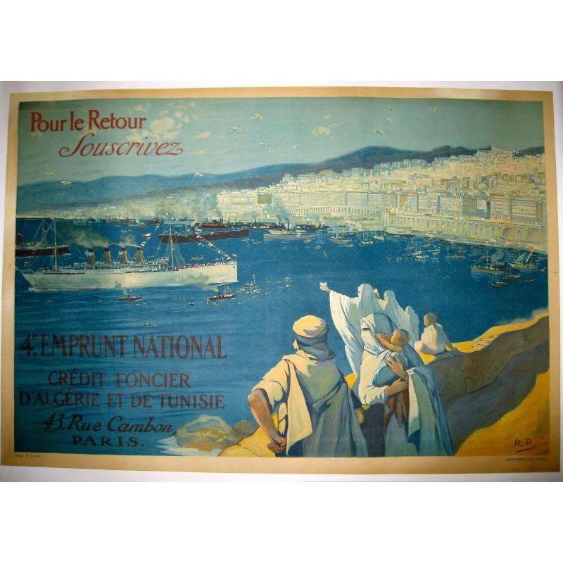Affiche originale Pour le retour souscrivez Alger. Elbé Paris.