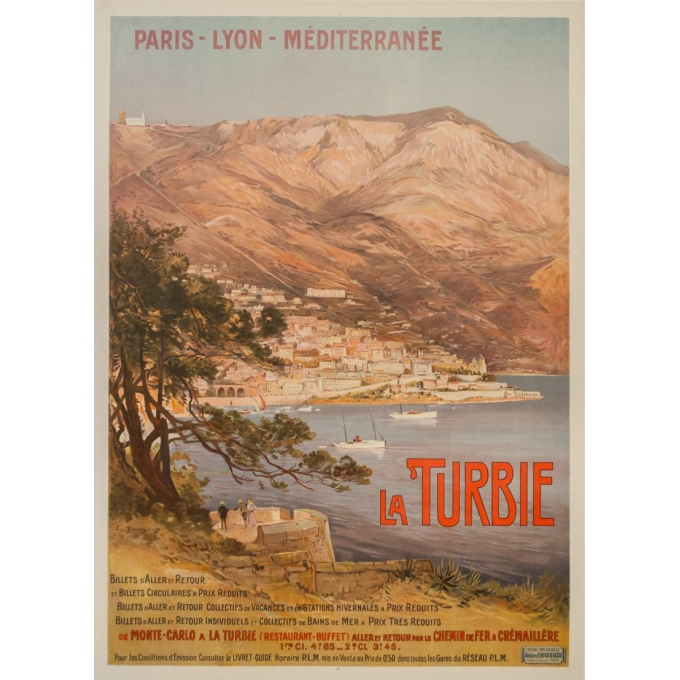 Vintage travel poster - E. Bourgeois - Circa 1900 - La Turbie  - 42.5 by 30.3 inches