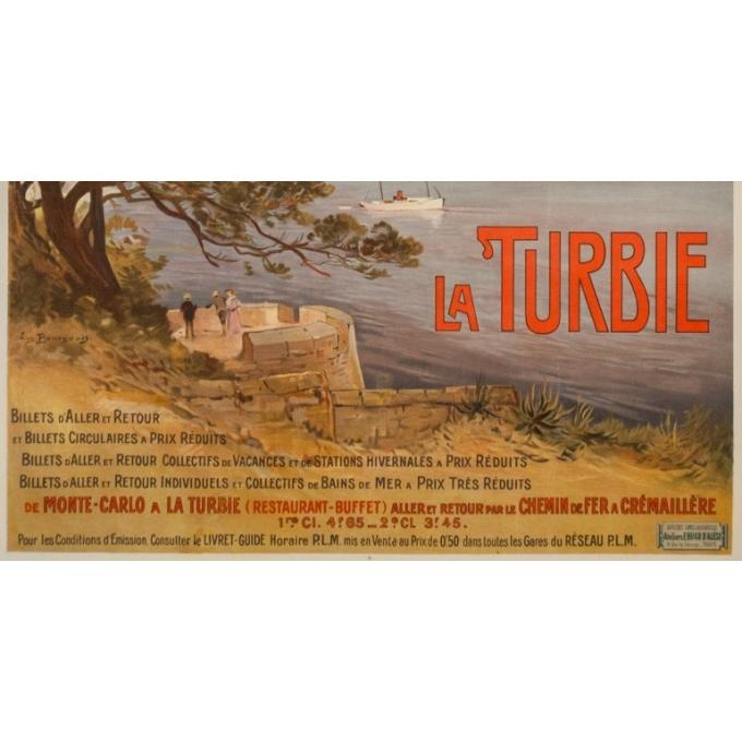 Affiche ancienne de voyage - E. Bourgeois - Circa 1900 - La Turbie  - 108 par 77 cm - 3