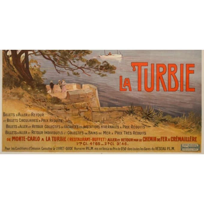 Vintage travel poster - E. Bourgeois - Circa 1900 - La Turbie  - 42.5 by 30.3 inches - 3