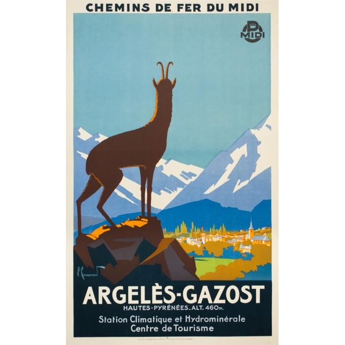 Affiche ancienne de voyage - Pierre Commarmont - Circa 1930 - Argelès Gazost - 100.5 par 62 cm