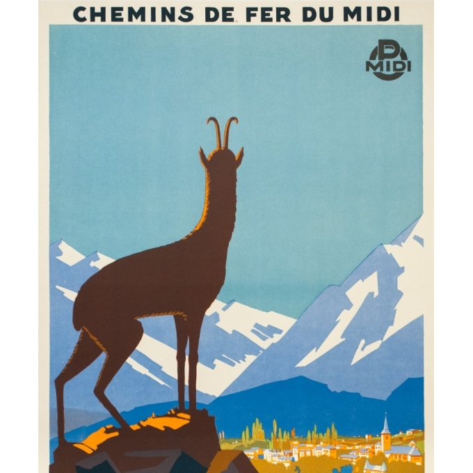 Affiche ancienne de voyage - Pierre Commarmont - Circa 1930 - Argelès Gazost - 100.5 par 62 cm - 2