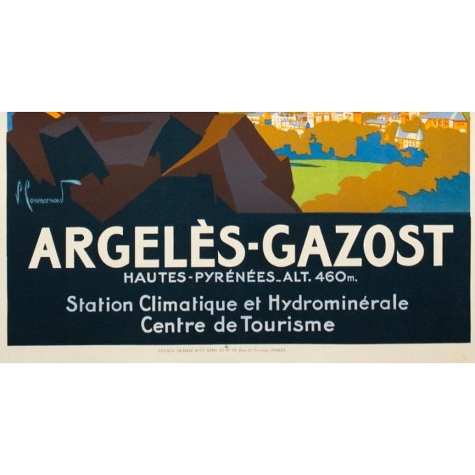 Affiche ancienne de voyage - Pierre Commarmont - Circa 1930 - Argelès Gazost - 100.5 par 62 cm - 3