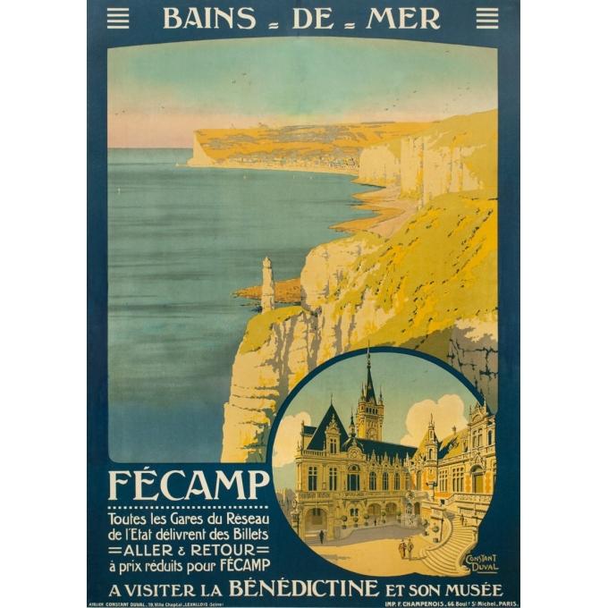 Affiche ancienne de voyage - Constant Duval - 1920 - Fécamp - 105 par 75 cm