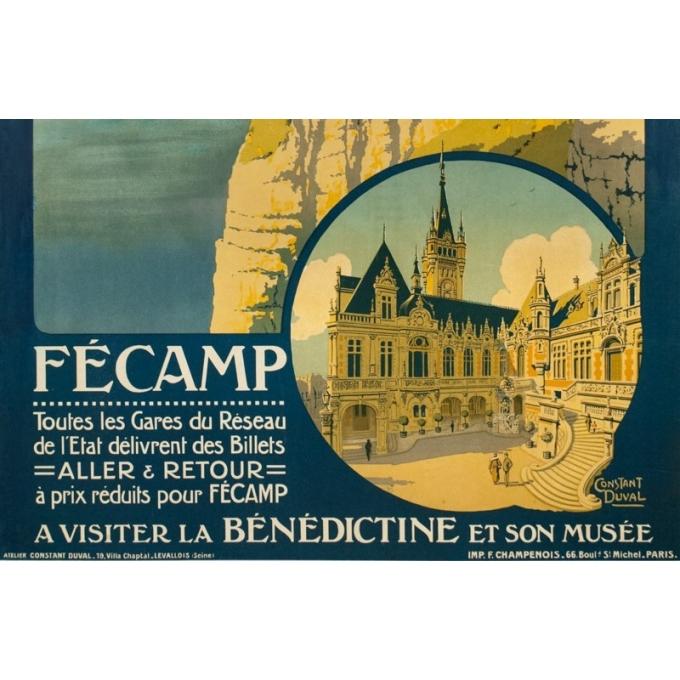 Affiche ancienne de voyage - Constant Duval - 1920 - Fécamp  - 105 par 75 cm - 3