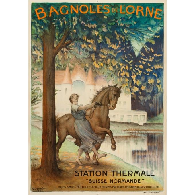 Affiche ancienne de voyage - Cléandre - 1922 - Bagnoles de l'Orme - 106 par 75 cm