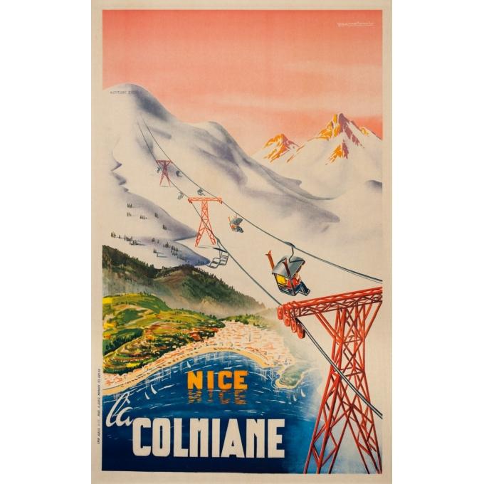Affiche ancienne de voyage - Mandoni - Circa 1950 - Nice la Colonniale - 100 par 62 cm