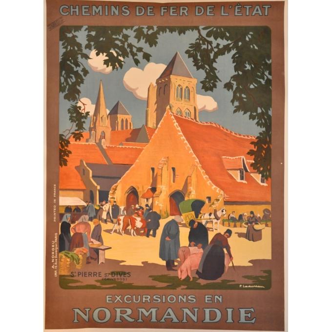 Affiche originale Saint Pierre sur Dives excursions en Normandie. Elbé Paris.