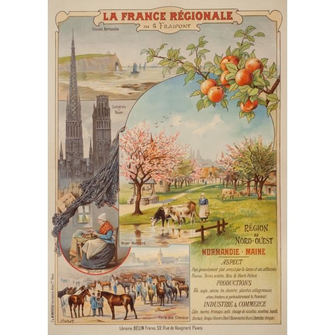 Affiche ancienne de voyage - Gustave Frépont - Circa 1900 - La France Régionale Normandie Maine - 77.5 par 56 cm