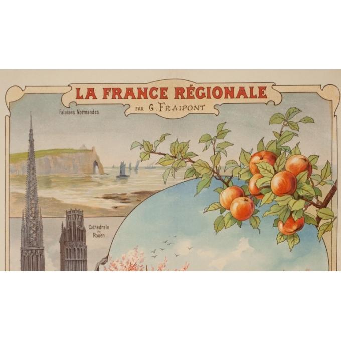 Affiche ancienne de voyage - Gustave Frépont - Circa 1900 - La France Régionale Normandie Maine - 77.5 par 56 cm - 2