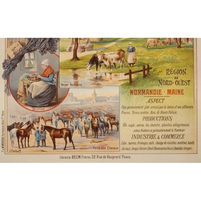 Affiche ancienne de voyage - Gustave Frépont - Circa 1900 - La France Régionale Normandie Maine - 77.5 par 56 cm - 3