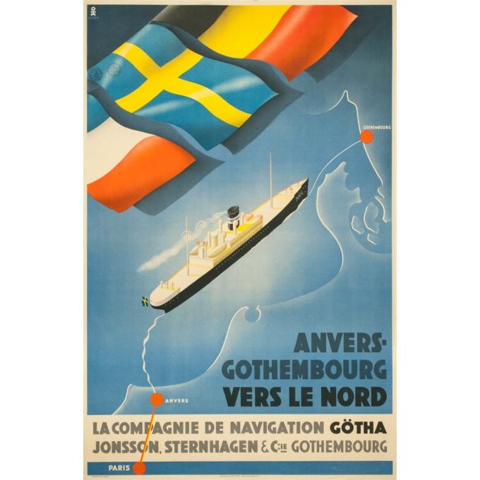 Affiche ancienne de voyage - Olsen - Circa 1930 - Compagnie de Navigation Götha - 99 par 64.5 cm