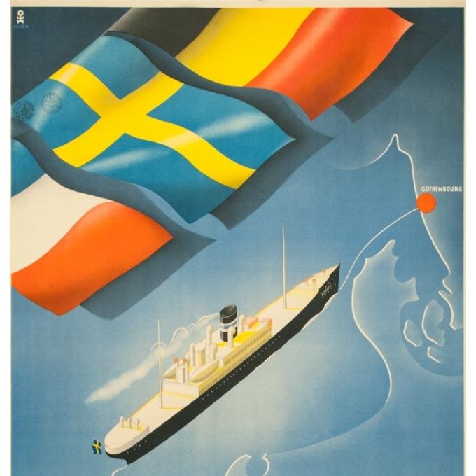 Affiche ancienne de voyage - Olsen - Circa 1930 - Compagnie de Navigation Götha - 99 par 64.5 cm - 2