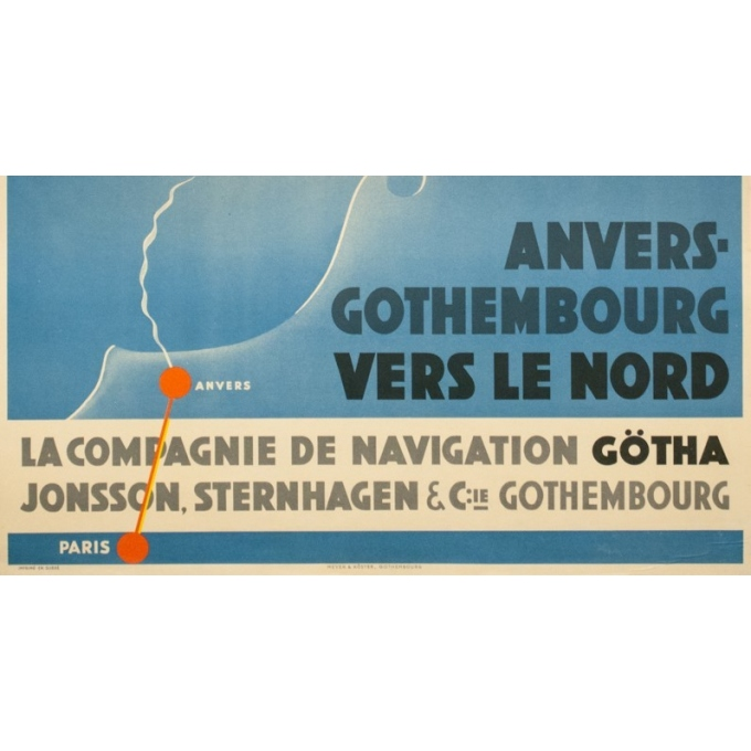 Vintage travel poster - Olsen - Circa 1930 - Compagnie de Navigation Götha - 39 by 25.4 inches - 3