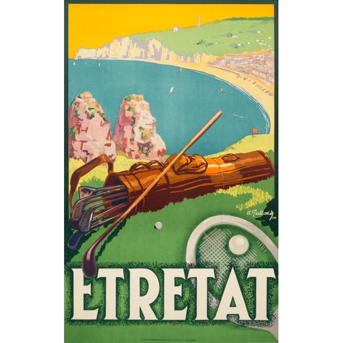 Affiche ancienne de voyage - A.Galland - 1929 - Etretat  - 100 par 62.2 cm