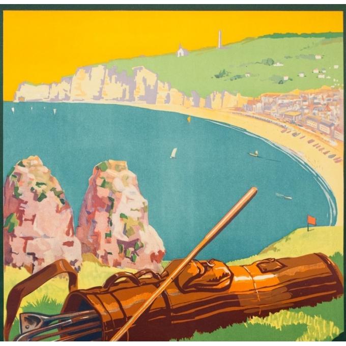Affiche ancienne de voyage - A.Galland - 1929 - Etretat  - 100 par 62.2 cm - 2