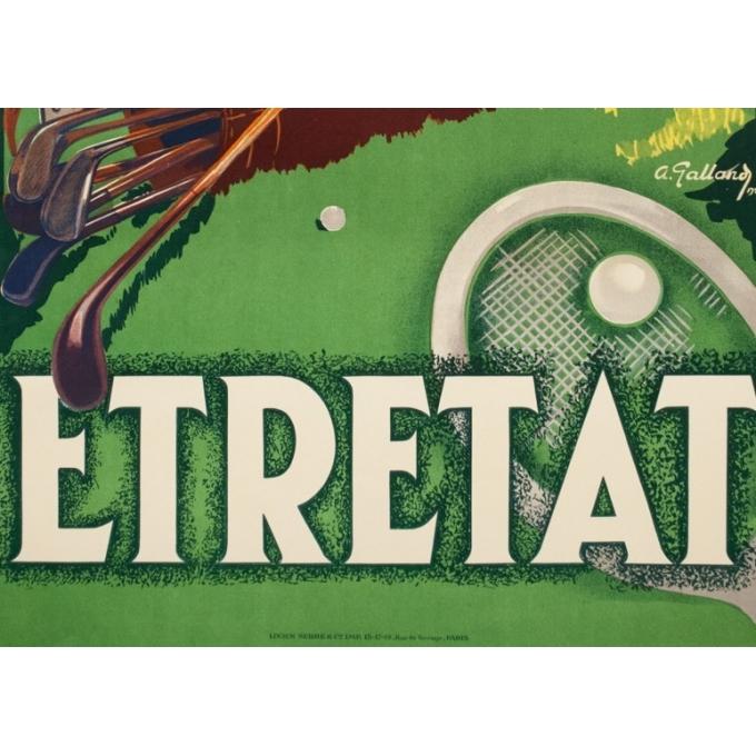 Affiche ancienne de voyage - A.Galland - 1929 - Etretat  - 100 par 62.2 cm - 3