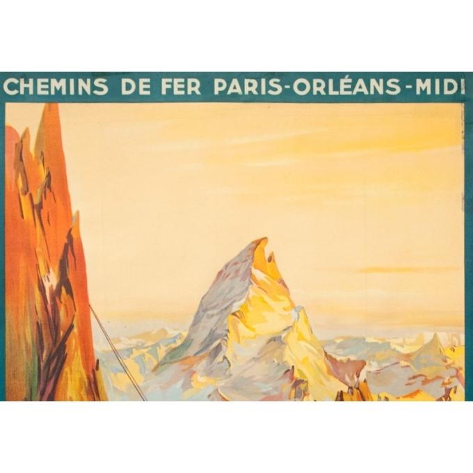 Affiche ancienne de voyage - E. Paul Champseix - 1934 - Téléférique d'Artouste - 99.5 par 60 cm - 2
