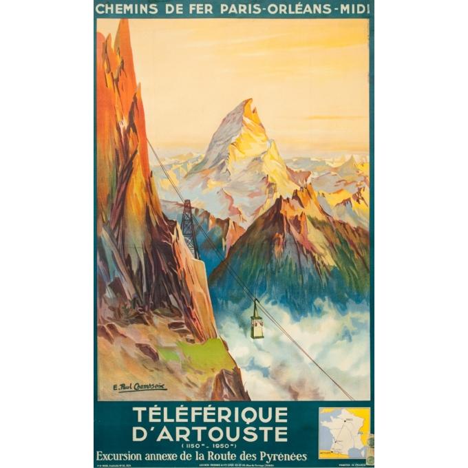 Affiche ancienne de voyage - E. Paul Champseix - 1934 - Téléférique d'Artouste - 99.5 par 60 cm