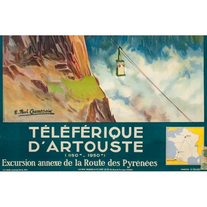 Affiche ancienne de voyage - E. Paul Champseix - 1934 - Téléférique d'Artouste - 99.5 par 60 cm - 3