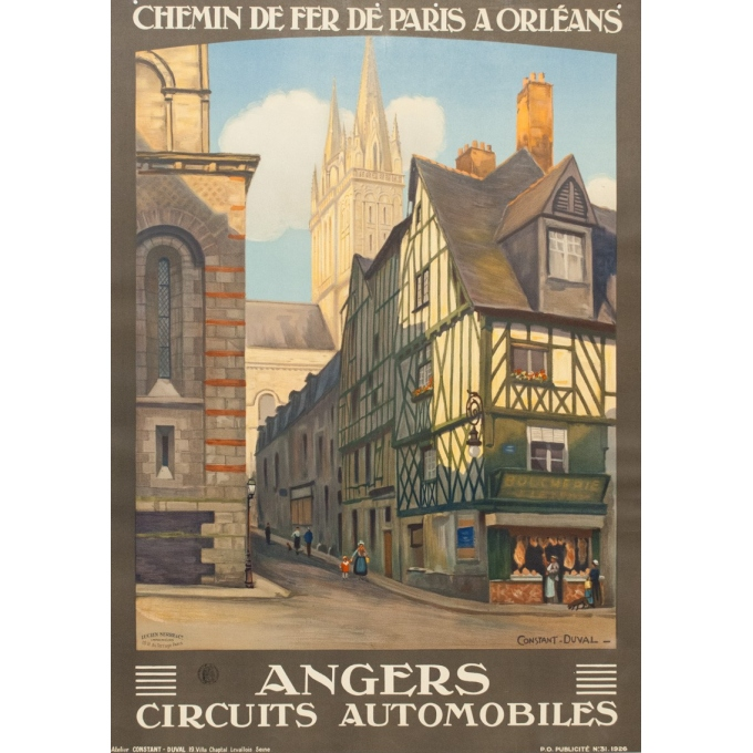 Vintage travel poster - Constant Duval  - 1926 - Angers - 41.1 by 29.3 inches