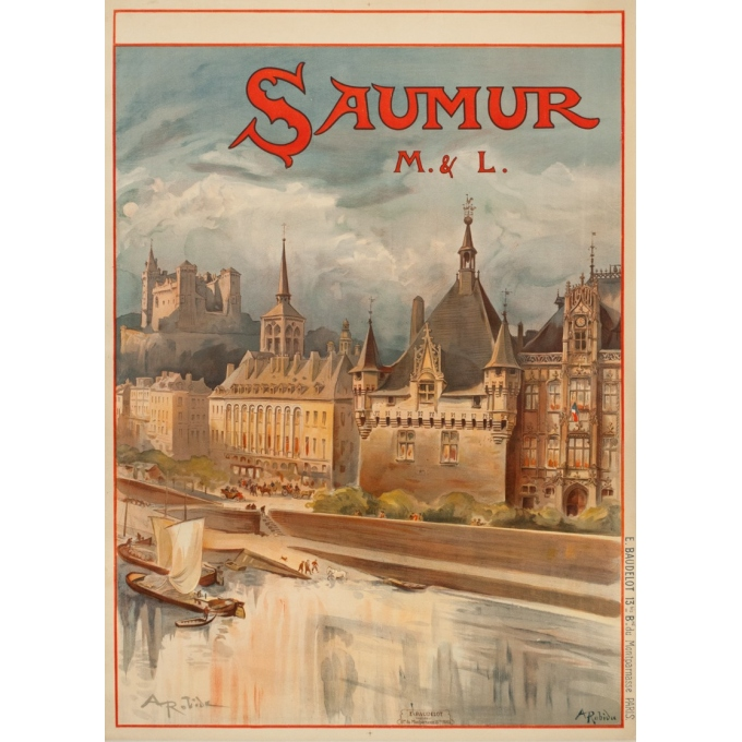 Affiche ancienne de voyage - A.Robida - 1910 - Saumur - 103 par 74 cm