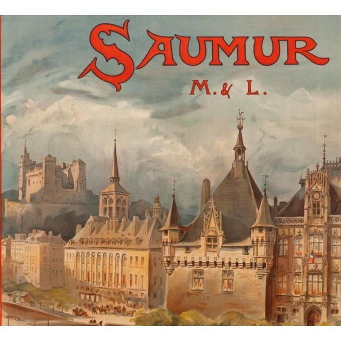 Affiche ancienne de voyage - A.Robida - 1910 - Saumur - 103 par 74 cm - 2