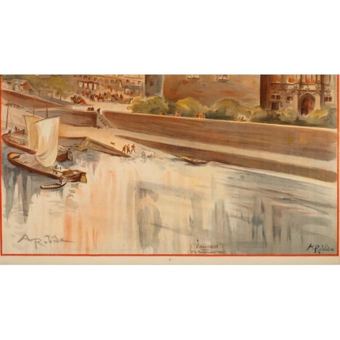 Affiche ancienne de voyage - A.Robida - 1910 - Saumur - 103 par 74 cm - 3
