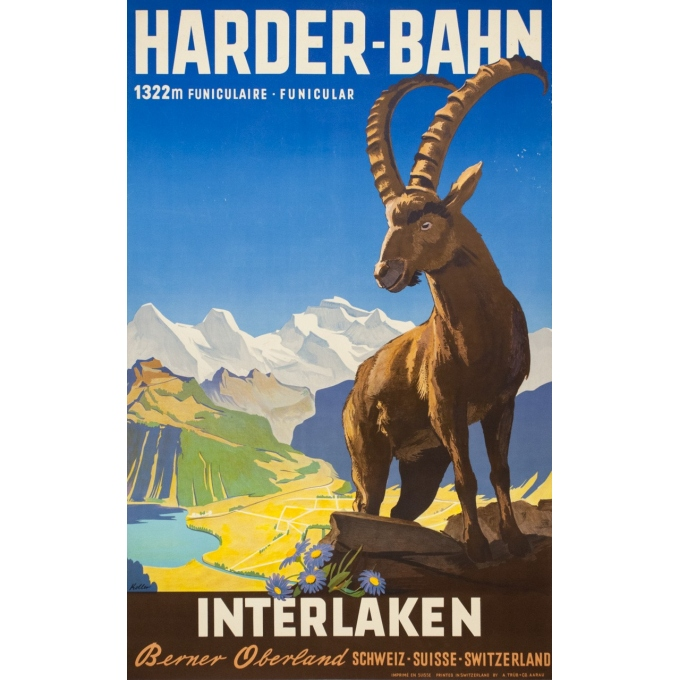 Vintage travel poster - Kaoller - Circa 1950 - Interlakenharder bhan - 40.2 by 25.4 inches