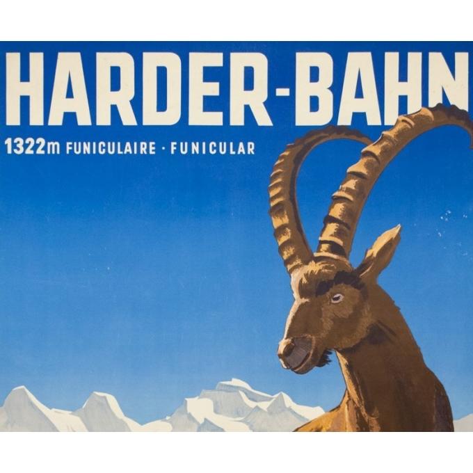 Affiche ancienne de voyage - Kaoller - Circa 1950 - Interlakenharder bhan - 102 par 64.5 cm - 2