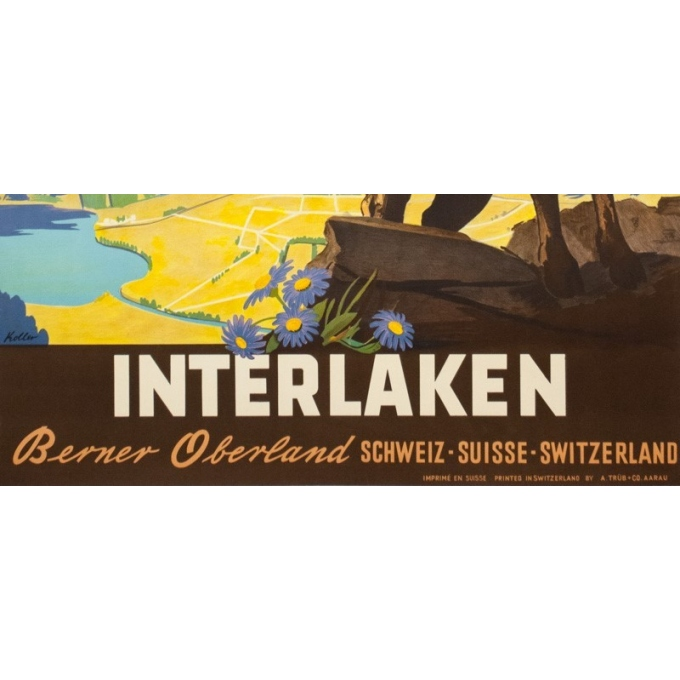 Affiche ancienne de voyage - Kaoller - Circa 1950 - Interlakenharder bhan - 102 par 64.5 cm - 3