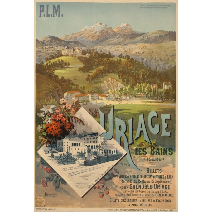 Vintage travel poster - F.H.d'Alési - Circa 1900 - Uriage PLM - 41.5 by 28.7 inches