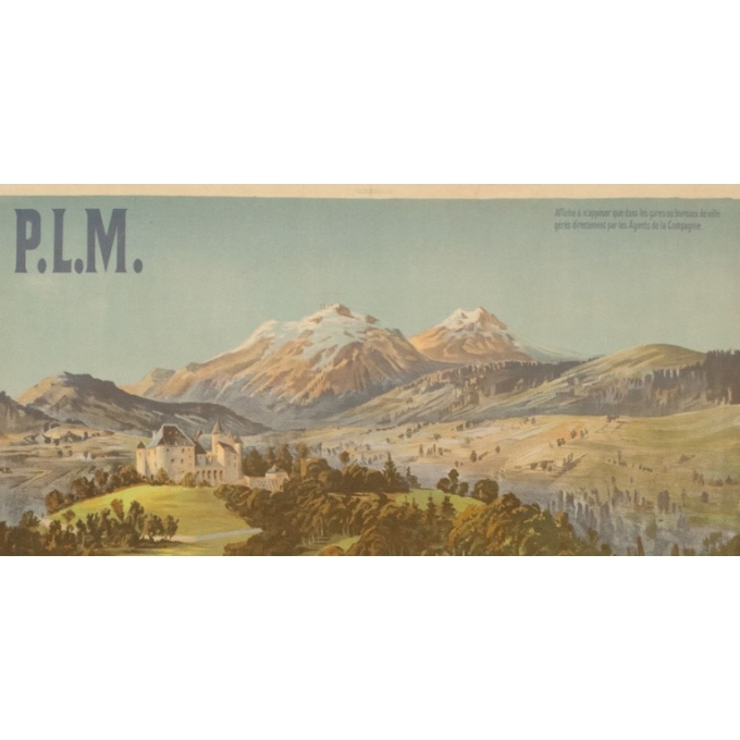 Vintage travel poster - F.H.d'Alési - Circa 1900 - Uriage PLM - 41.5 by 28.7 inches - 2