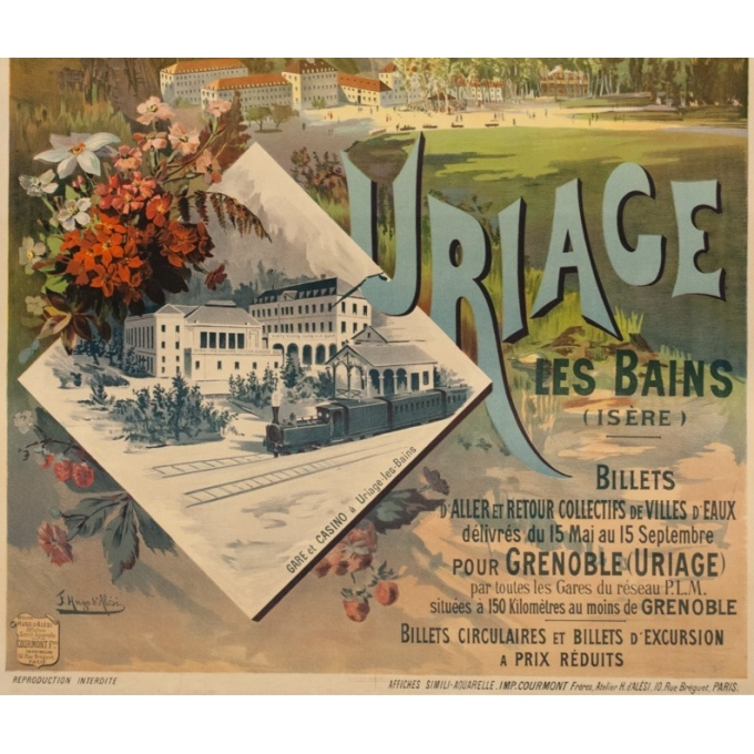 Vintage travel poster - F.H.d'Alési - Circa 1900 - Uriage PLM - 41.5 by 28.7 inches - 3