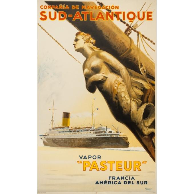 Vintage travel poster - A Brenet  - Circa 1950 - Compagnie de Navigation Sud Atlantique - 39.4 by 24.4 inches