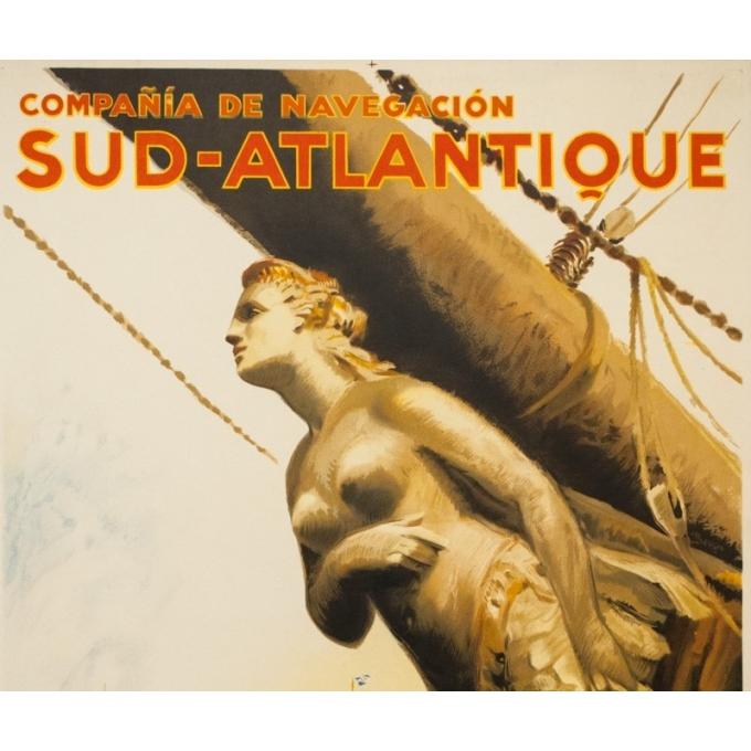 Vintage travel poster - A Brenet  - Circa 1950 - Compagnie de Navigation Sud Atlantique - 39.4 by 24.4 inches - 2