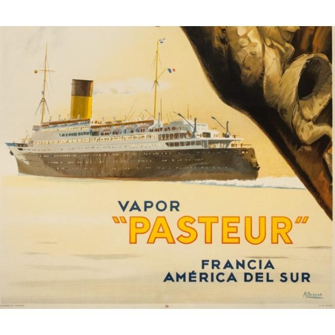 Vintage travel poster - A Brenet  - Circa 1950 - Compagnie de Navigation Sud Atlantique - 39.4 by 24.4 inches - 3
