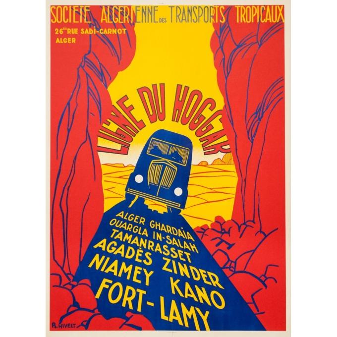 Vintage travel poster - R.Nivelt - Circa 1950 - SATT Ligne du Hoggar  - 31.9 by 22 inches