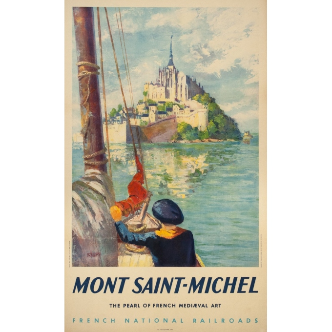 Vintage travel poster - Starr - Circa 1950 - Mont Saint Michel - 39 by 23.8 inches