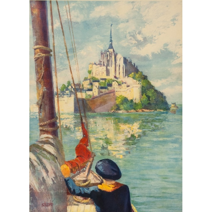 Vintage travel poster - Starr - Circa 1950 - Mont Saint Michel - 39 by 23.8 inches - 2