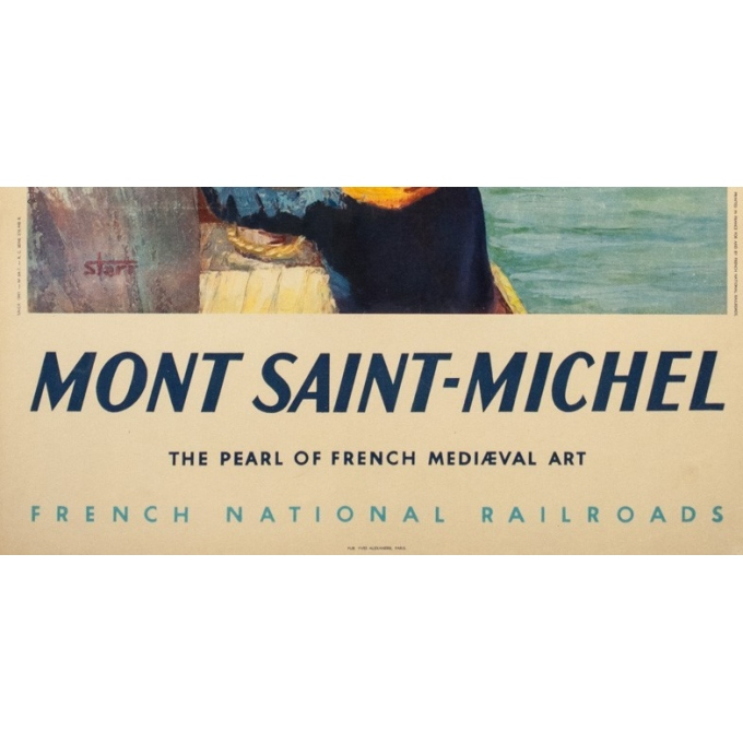 Vintage travel poster - Starr - Circa 1950 - Mont Saint Michel - 39 by 23.8 inches - 3
