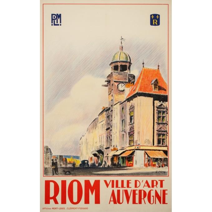 Affiche ancienne de voyage - Ch Tasseny - Circa 1930 - Riom Auvergne - 101.5 par 63 cm
