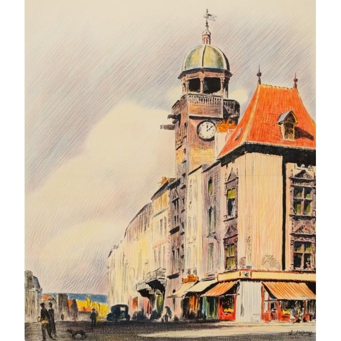 Vintage travel poster - Ch Tasseny - Circa 1930 - Riom Auvergne - 40 by 24.8 inches - 3