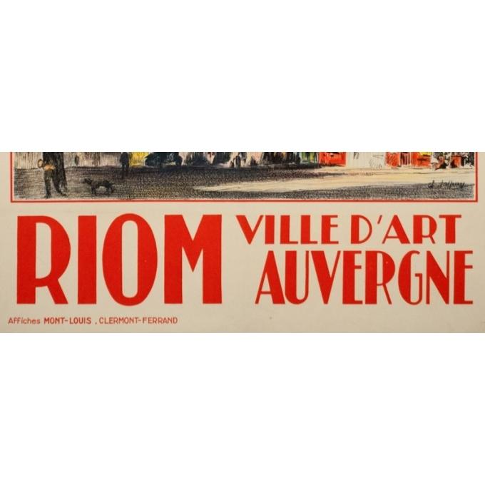 Vintage travel poster - Ch Tasseny - Circa 1930 - Riom Auvergne - 40 by 24.8 inches - 4